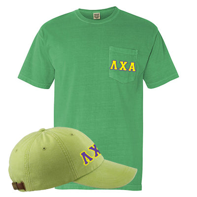 Fraternity Comfort Colors Printed Pocket T-Shirt and Hat Package - Comfort Colors 6030 AD969 - DIG