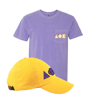 Sorority Comfort Colors Printed Pocket T-Shirt and Hat Package - Comfort Colors 6030 AD969 - DIG