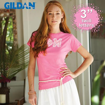 Sorority Ladies' Softstyle Tee w/ Twill Letters - Gildan 6400L - TWILL