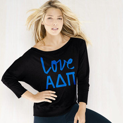 Alpha Delta Pi Flowy Off-The-Shoulder Love Shirt - Bella 8850 - CAD