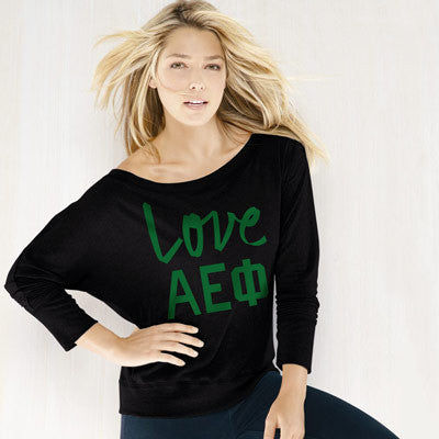 Alpha Epsilon Phi Flowy Off-The-Shoulder Love shirt - Bella 8850 - CAD