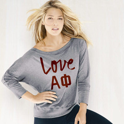 Alpha Phi Flowy Off-The-Shoulder Love Shirt - Bella 8850 - CAD