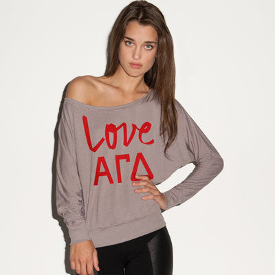 Alpha Gamma Delta Flowy Off-The-Shoulder Love Shirt - Bella 8850 - CAD