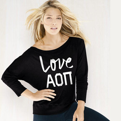 Alpha Omicron Pi Flowy Off-The-Shoulder Love Shirt - Bella 8850 - CAD