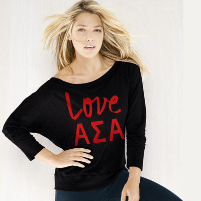 Alpha Sigma Alpha Flowy Off-The-Shoulder Love Shirt - Bella 8850 - CAD