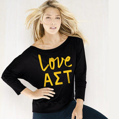 Alpha Sigma Tau Flowy Off-The-Shoulder Love Shirt - Bella 8850 - CAD