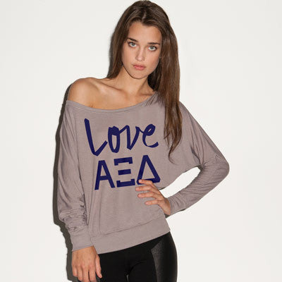 Alpha Xi Delta Flowy Off-The-Shoulder Love Shirt - Bella 8850 - CAD