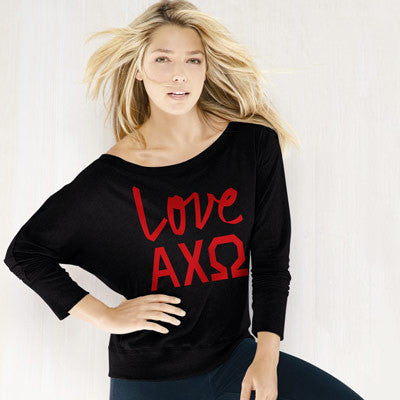 Alpha Chi Omega Flowy Off-The-Shoulder Love Shirt - Bella 8850 - CAD