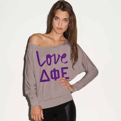 Delta Phi Epsilon Flowy Off-The-Shoulder Love Shirt - Bella 8850 - CAD