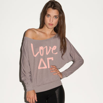 Delta Gamma Flowy Off-The-Shoulder Love Shirt - Bella 8850 - CAD