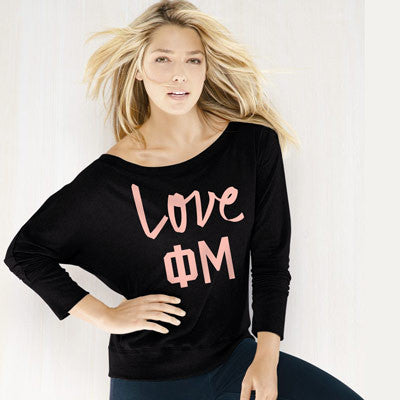 Phi Mu Flowy Off-The-Shoulder Love Shirt - Bella 8850 - CAD