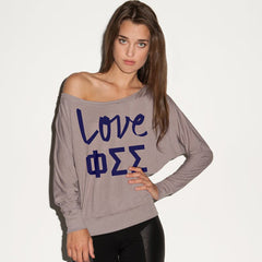 Phi Sigma Sigma Flowy Off-The-Shoulder Love Shirt - Bella 8850 - CAD