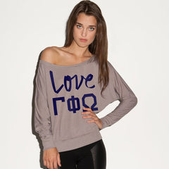 Gamma Phi Omega Flowy Off-The-Shoulder Love Shirt - Bella 8850 - CAD