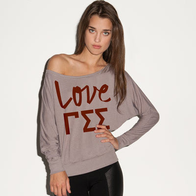 Gamma Sigma Sigma Flowy Off-The-Shoulder Love Shirt - Bella 8850 - CAD