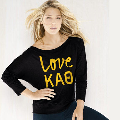 Kappa Alpha Theta Flowy Off-The-Shoulder Love Shirt - Bella 8850 - CAD