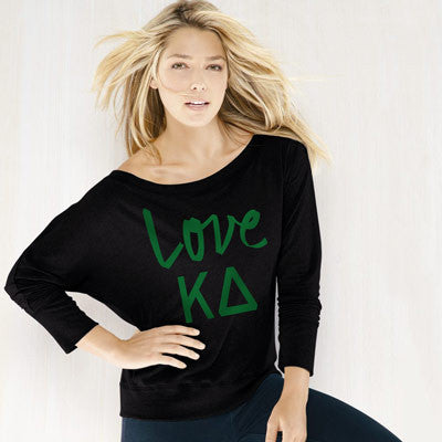 Kappa Delta Flowy Off-The-Shoulder Love Shirt - Bella 8850 - CAD