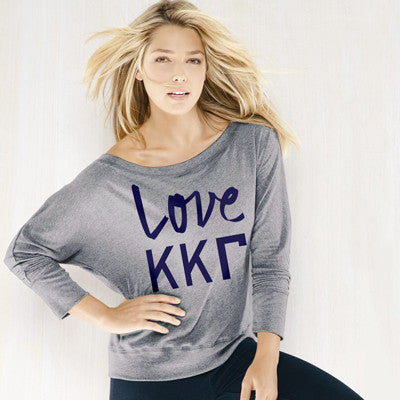 Kappa Kappa Gamma Flowy Off-The-Shoulder Love Shirt - Bella 8850 - CAD