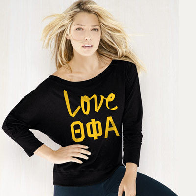 Theta Phi Alpha Flowy Off-The-Shoulder Love Shirt - Bella 8850 - CAD