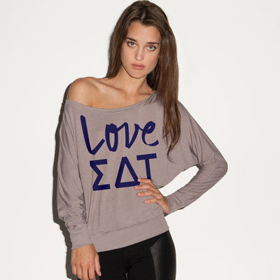 Sigma Delta Tau Flowy Off-The-Shoulder Love Shirt - Bella 8850 - CAD