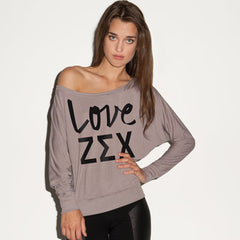 Zeta Sigma Chi Flowy Off-The-Shoulder Love Shirt - Bella 8850 - CAD