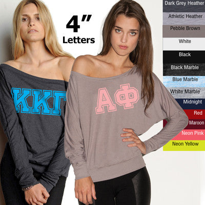 Sorority Off-The-Shoulder Varsity Printed Shirt - Bella 8850 - CAD