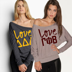 Sorority Flowy Off-The-Shoulder Printed Love Shirt - Bella 8850 - CAD