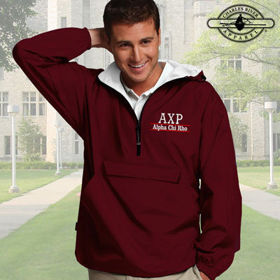 Alpha Chi Rho Embroidered Bar Design Pullover Jacket - Charles River 9905 - EMB