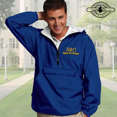 Alpha Phi Omega Embroidered Bar Design Pullover Jacket - Charles River 9905 - EMB