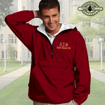 Alpha Sigma Phi Embroidered Pullover Jacket - Charles River 9905 - EMB