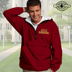 Phi Kappa Theta Embroidered Bar Design Pullover Jacket - Charles River 9905 - EMB