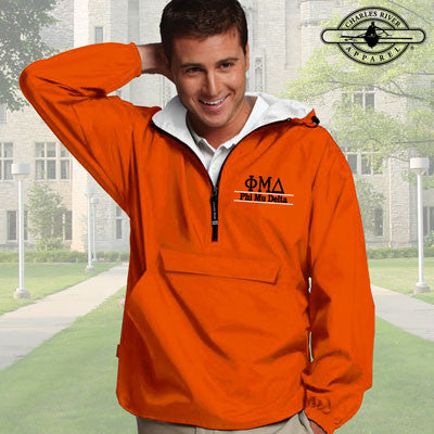 Phi Mu Delta Embroidered Bar Design Pullover Jacket - Charles River 9905 - EMB