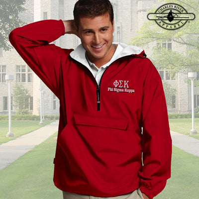 Phi Sigma Kappa Embroidered Pullover Jacket - Charles River 9905 - EMB
