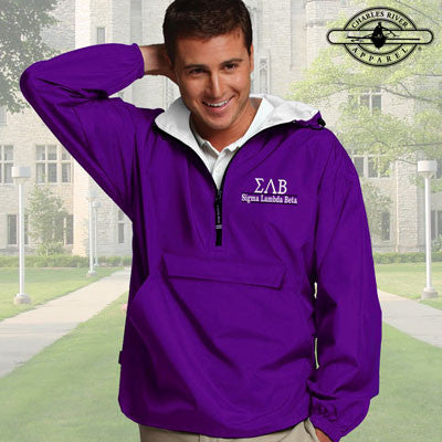 Sigma Lambda Beta Embroidered Bar Design Pullover Jacket - Charles River 9905 - EMB