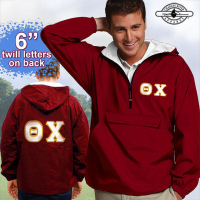 Theta Chi Pullover Jacket - Charles River 9905 - TWILL