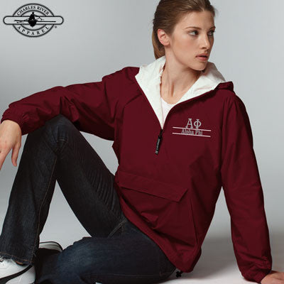 Alpha Phi Embroidered Bar Design Pullover Jacket - Charles River 9905 - EMB