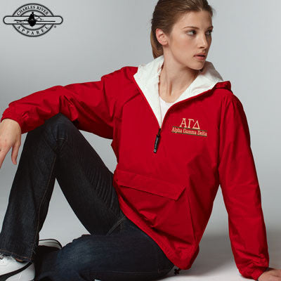 Alpha Gamma Delta Embroidered Bar Design Pullover Jacket - Charles River 9905 - EMB