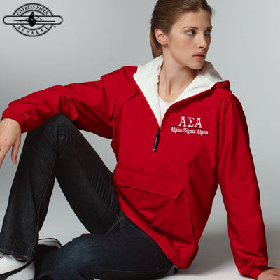 Alpha Sigma Alpha Embroidered Bar Design Pullover Jacket - Charles River 9905 - EMB