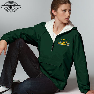 Alpha Sigma Tau Embroidered Bar Design Pullover Jacket - Charles River 9905 - EMB