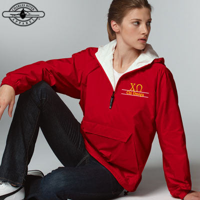 Chi Omega Embroidered Bar Design Pullover Jacket - Charles River 9905 - EMB