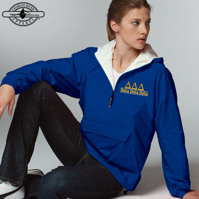 Delta Delta Delta Embroidered Bar Design Pullover Jacket - Charles River 9905 - EMB