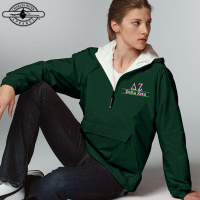 Delta Zeta Embroidered Bar Design Pullover Jacket - Charles River 9905 - EMB