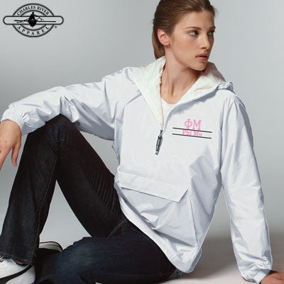 Phi Mu Embroidered Bar Design Pullover Jacket - Charles River 9905 - EMB