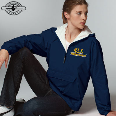 Phi Sigma Sigma Embroidered Bar Design Pullover Jacket - Charles River 9905 - EMB