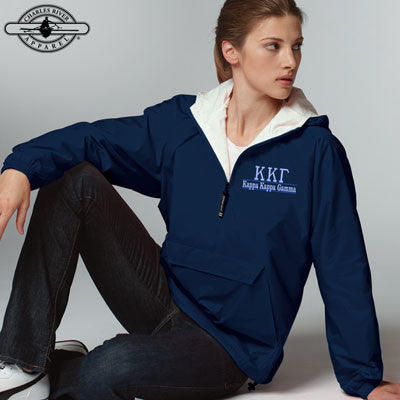 Kappa Kappa Gamma Embroidered Bar Design Pullover Jacket - Charles River 9905 - EMB