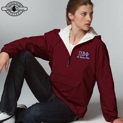 Pi Beta Phi Embroidered Bar Design Pullover Jacket - Charles River 9905 - EMB