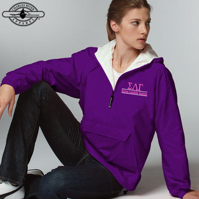 Sigma Lambda Gamma Embroidered Bar Design Pullover Jacket - Charles River 9905 - EMB
