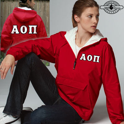 Alpha Omicron Pi Pullover Jacket - Charles River 9905 - TWILL
