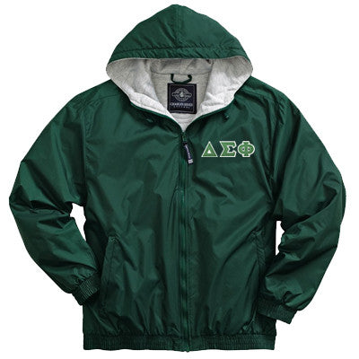 Delta Sigma Phi Greek Fleece Lined Full Zip Jacket w/ Hood - Charles River 9921 - TWILL