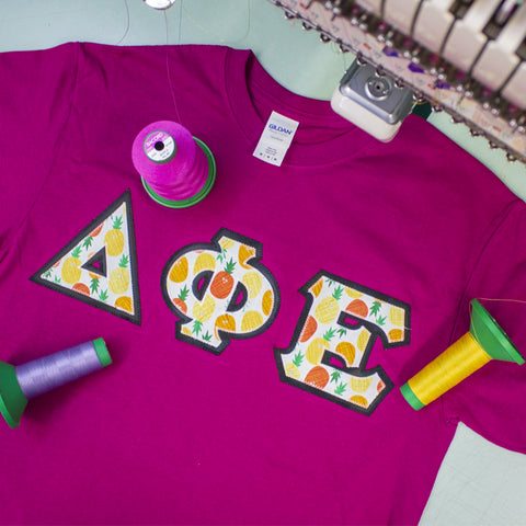 Sorority Lettered T-Shirt Gildan 5000 - TWILL