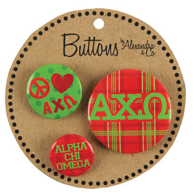 Alpha Chi Omega Sorority Buttons - Alexandra Co. a1055